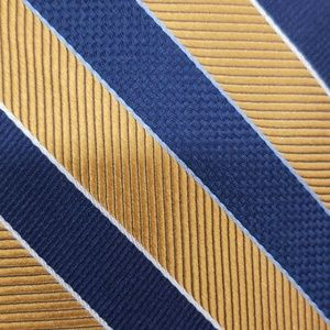 Jos A Bank Blue Gold Stripe Silk Tie Stain Resist